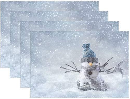 HEOH Manteles Individuales de 12 x 18 Pulgadas, Juego de 6, muñeco de Nieve Sonriente Snowflake Snow Table Mat Mesa de poliéster para Cocina Comedor para niños
