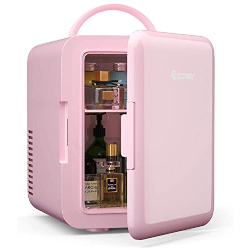 ARLIME 4 Liter Mini Fridge, Portable Makeup Skincare Mini Cooler with Ergonomic Handle, AC/DC Powered, Fast Cooler and Warmer for Cars, Homes, Offices and Dorms (Pink)