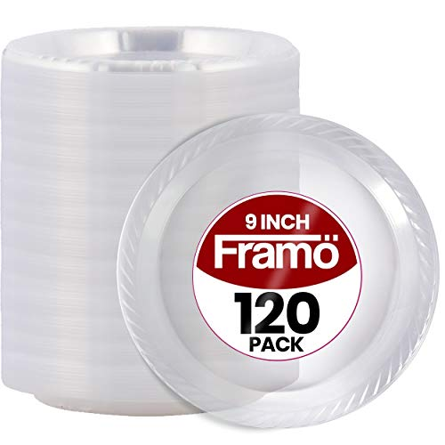 9 Inch Disposable Clear Plastic Plates In Bulk By Framo for Party and Dinner,And For Any Occasion, Microwaveable, BBQ, Travel, and Events (120 Count)
