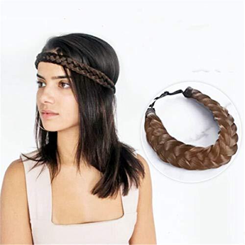 Bohemian Easy-Wear Haarbänder, Perücke Stirnband verstellbare Twist Braid für Party, Frauen Hochzeit böhmischen Frauen Stirnband geflochten (Braun)