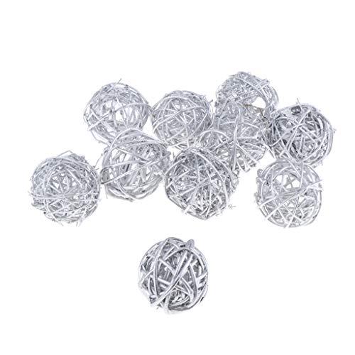 yotijar Bolas Redondas de Mimbre Y Ratán de 5 Cm - Bolas Decorativas para Cuencos, Rellenos - Plata, Individual
