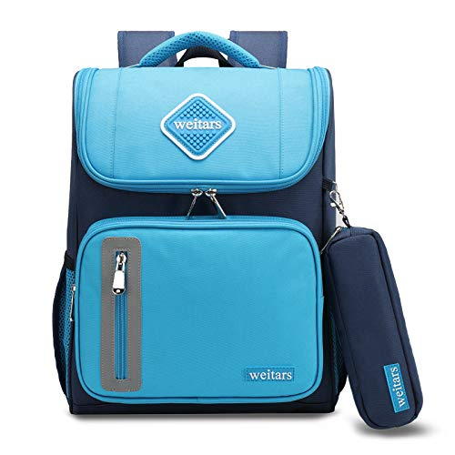 Weitars Kids School Backpack for Girls and Boys,Perfect Size for Preschool, Kindergarten and Elementary School,Large Capacity Schoolbag for Children (Blue)