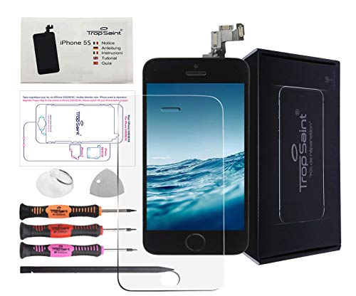 Trop Saint Pantalla Negro Compatible con iPhone 5C - Kit de reparación LCD Completo - con Guía 5 lenguas, Film Protector Pantalla, Superficie de Trabajo magnética y Herramientas