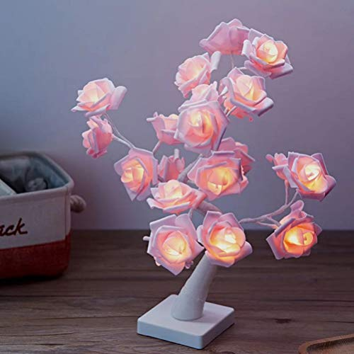 Artificial Rose Twig Tree -Pre Lit -Warm Pink Lights,with USB Powered Flower Tree Lamp 24 LEDs for Desk Top Bonsai Tree Lights Room,White,24 LEDs