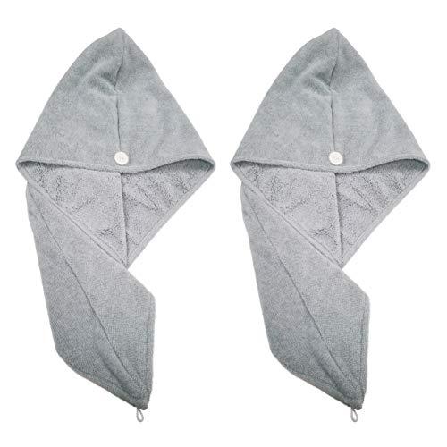 Polyte - Toalla Turbante para el Pelo - Microfibra - Gris - 31 x 71cm - Pack de 2
