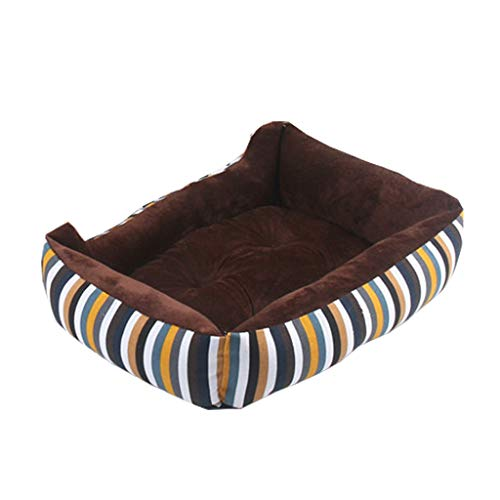 Tll-mm Dog Bed Pet Bed Dog Sofa Canvas Fabric PP Cotton Striped Cat Bed Four Seasons Universal (Size : S)