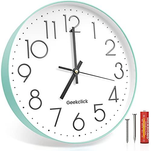 Geekclick Reloj de pared de 12 pulgadas [batería incluida], silencioso y grande relojes de pared para sala de estar, oficina, hogar, cocina, estilo moderno y fácil de leer, verde
