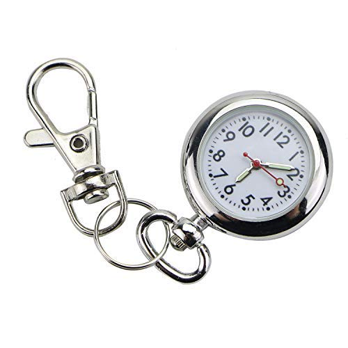 Monrocco 1PC Luminous Nurse Pocket Watch Keychain, Vintage Round Classical Pocket Key Chain Watch Pendant