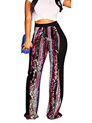 Black-2 Stretchy High Waisted Wide Leg Button-Down Pants with Sequins