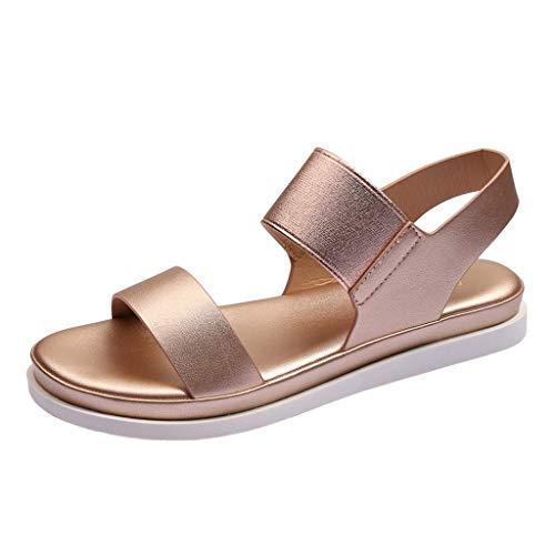 Elastische Flache Sandalen für Damen/Dorical Frauen Sommer Elastic Flach Frauen Bohemia Sandals Strand Sommerschuhe Casual Strandschuh Ausverkauf(Z2-Rose Gold,41 EU)