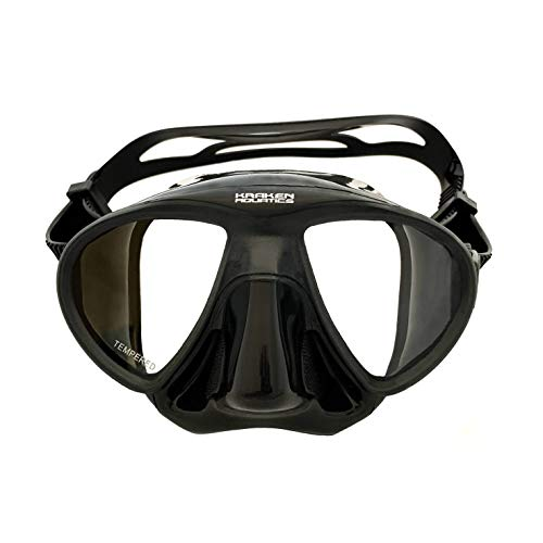 Kraken Aquatics Freediving Spearfishing Mask with Silicone Skirt and Strap | Storage Case Included | Black