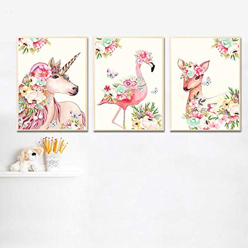 Dass Three Pieces Printed Canvas Painting Flower Cartoon Animal Flamingo Posters And Prints, Art Baby Bedroom Children's Room Decorative Mural No Frame (Size : 30x40cm No Frame)