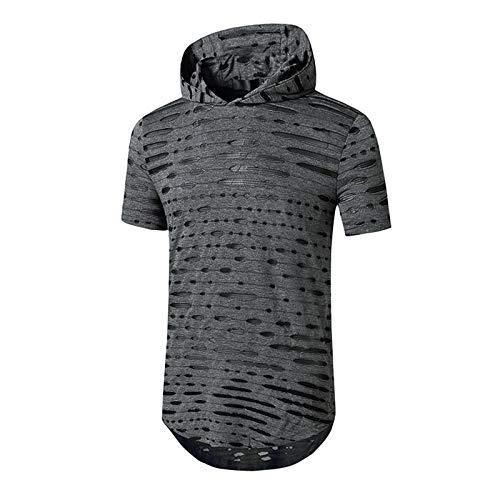 SSBZYES Camiseta para Hombre Camiseta con Espalda con Capucha para Hombre Camiseta De Manga Corta con Capucha De Color Sólido para Hombre Camiseta De Manga Corta con Capucha De Color Sólido Hipster