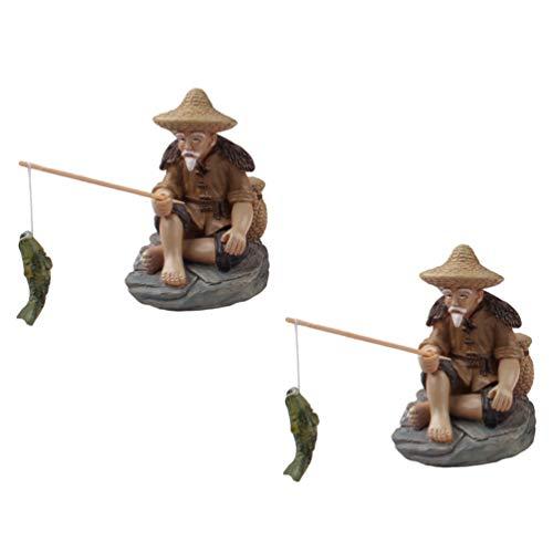 Generic Acuario de Pescador Decoraciones Figura Ornamental Pesca Modelo Decoración Arena Mesa Adornos Pecera Accesorios 2 Piezas