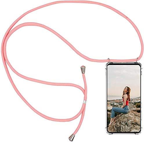 AKC Funda con Cuerda Compatible para Samsung Galaxy Note 9 Carcasa Colgante Cadena Acrílico Caso con Ajustable Collar Correa Anti-Choque Case-Rosado