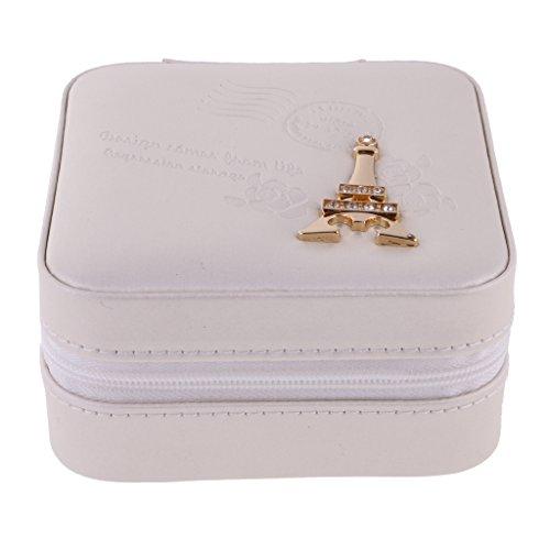 chiwanji Women Girls PU Leather Travel Zip Jewellery Moible Phone Box Holder Storage Case - White