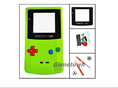 Gametown Full Housing Shell Pack with Screwdriver for Nintendo Game boy Color GBC Repair Part-Apple Green