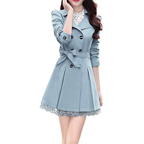 iHENGH Damen Winter Jacke Warm Bequem Parka Mantel Lässig Mode Frauen Damenmode Slim Warme Lange Ärmel Knopf Spitze Mit Gürtel(Blau,XL)