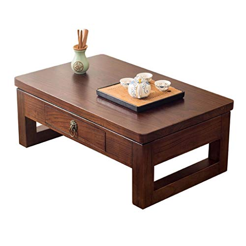 Teetisch Massivholzerkerfenster Tabelle Tatami Couchtisch Einfacher Teetisch Balkon Schublade Tisch japanische Art Low Table (Color : Brown, Size : 80 * 50 * 30cm)