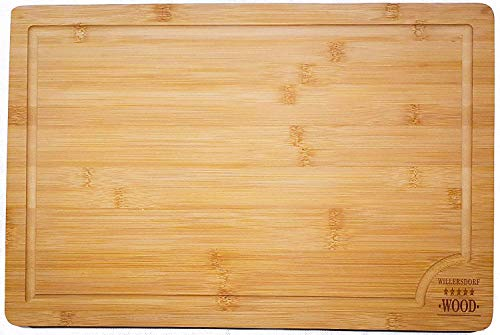 "EXTRA LARGE Organic Bamboo Chopping Board | 45cm x 30cm x 2cm with Juice Groove Best Kitchen Cutting Board for Meat (Butcher Block) Cheese and Vegetables Anti Microbial Heavy Duty Serving Tray with Handles 18"" x 12"" x 0.8"""