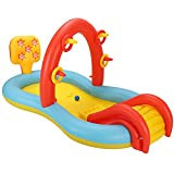 """GMWD Inflatable Play Center Wading Pool with Slide for Kids Children Garden Backyard,Sprinkler Water Toys for Kids and Summer Water Party, 89"""" x 49"""" x 41 """""""