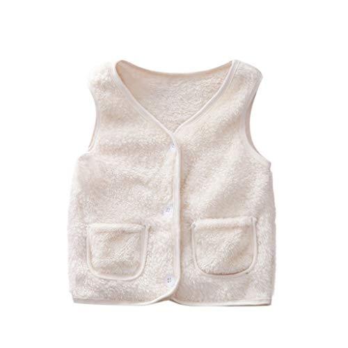 Livoral Mädchen Winter warme einfarbige Jacke Kleinkind Baby Kind Junge Mantel Kleidung Weste(Weiß,2-3 Jahre)