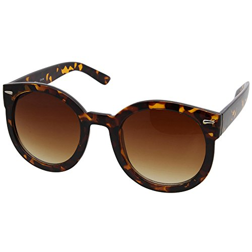 grinderPUNCH Women's Designer Inspired Mod Fashion Oversized Shaped Round Circle Sunglasses Tortoise