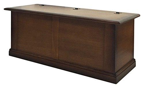 Pieffe Mobili Baúl de banco, Madera, color Nogal efecto cuero, 120 x 48 x 50 cm
