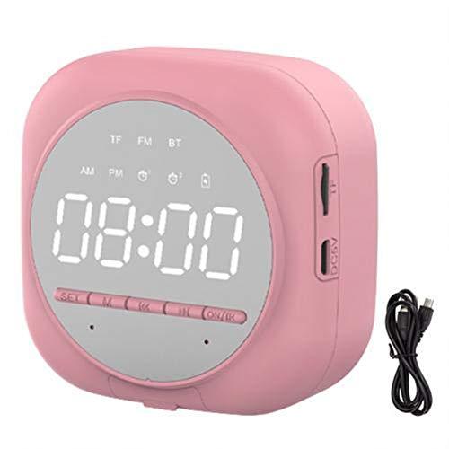 Venta caliente Nueva llegada Q12 Bluetooth 5.0 Reloj despertador multifuncional Soporte de altavoz TF Tarjeta TF (Color : Pink)