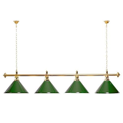 Billardlampe 4 Schirme grün/Goldfarbene Halterung