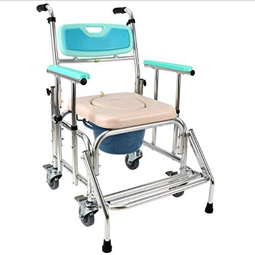 PAP Aluminiumlegierung Faltender Tragbarer Älterer Rollstuhl und Behinderter Handbremsen-Toilettensitz, Fahrbarer Toiletten-Schemel-Duschstuhl, Blau, a