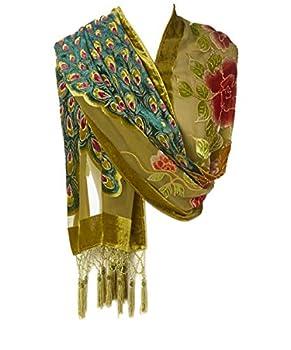 Pashmina Peacock Beaded Velvet Silk Tassels Embroidered Scarf Wrap Shawl