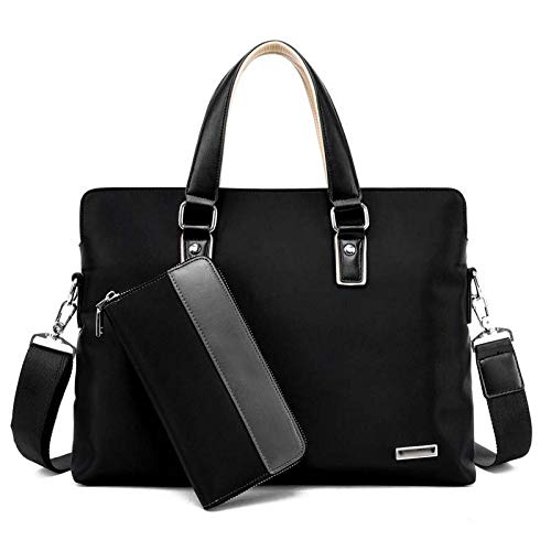 Handbag Men Handbag Men's Shoulder Bag Briefcase Men Briefcase Bag Oxford Laptop Bag High Quality Male Business Bag (Color : Black)