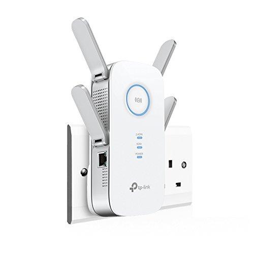 TP-Link AC1750Universal-Reichweitenverlängerer, für Breitband/WLAN/Wi-Fi, Hotspot mit 1Gb Anschluss und 3externen Antennen, integriertem Zugangspunkt-Modus, UK-Stecker (RE450) 11AC