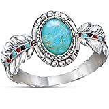 Jude Jewelers Retro Vintage Round Cut Turquoise Feather Angel Wing Style Cocktail Party Statement Ring (Blue, 8)