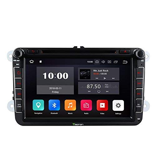 "eonon Android 8 fit VW Seat Golf Polo Jetta Passat Skoda 20cm 8"" LCD 2Din Indash Car Digital Audio Video Stereo Autoradio Touchscreen CD DVD GPS Sat Nav Bluetooth FM AM RDS USB SD Headunit GA9153A"