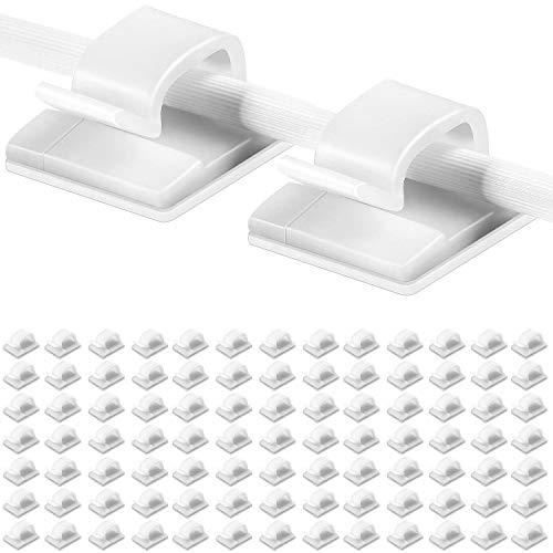100 piezas Clips de cables adhesivos Soporte de gestión de cables Organizador de cables eléctricos Organizadores de cables de plástico Clip para sujetar Cables