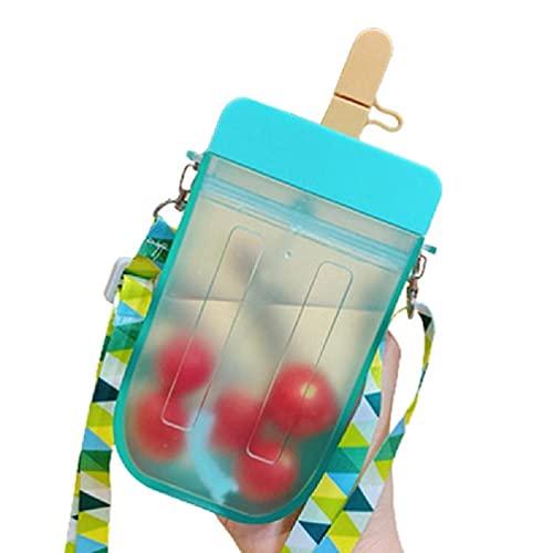SHUIXIN Bottiglia d'Acqua per ghiaccioli con Corda, Tazza di plastica Trasparente per Gelato Creativo Kawaii