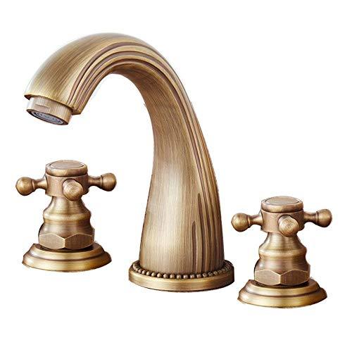 JRUIA Antik 3 Loch Waschtisch Armatur Bad Waschbecken Wasserhahn Zweigriffmischer Badarmatur f.Badezimmer aus Messing Gebürstete Komfort-Höhe 11cm