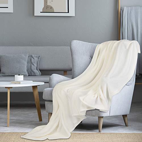 i@HOME Kuscheldecke Beige,200x220 cm,OekoTex flauschig und plüsch Fleecedecke als Sofadecke Couchdecke Wohndecke,weiche& warme Sofaüberwurf Decke Wohndecken Kuscheldecken