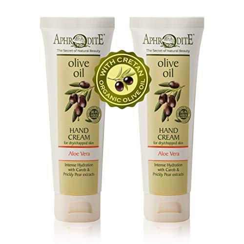 Crema de manos Afrodita -100% natural-2 piezas Set 2 elaborado con el aceite de oliva ecológico más puro de Grecia (Aloe vera/Aloe vera)