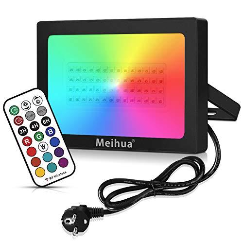 60W Projecteur led RGB exterieur éclairage couleur telecommandée 360°, Meihua lampadaire exterieur led couleur, lumineux de rêve jeu interieur led rgb pour déco Extérieur Halloween/Noël/Scène Paysage