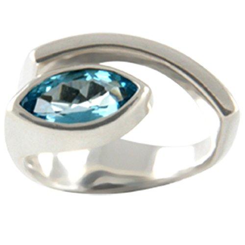 Skielka Designschmuck Ring mit Topas, hochwertige Goldschmiedearbeit (Sterling Silber 925) Ring Edeltopas 12x6 mm, Damenring mit Blautopas in SkyBlue