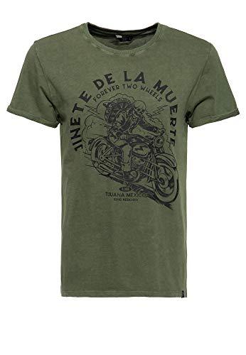 King Kerosin Herren Cooles Print T-Shirt | Slim Straight Fit | Acid Wash Jinete De La Muerte