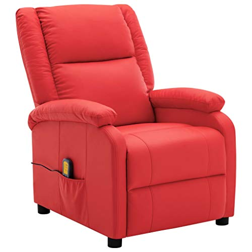 vidaXL Massagesessel Heizung Massage TV Sessel Fernsehsessel Relaxsessel Ruhesessel Polstersessel Liegesessel Lounge Rot Kunstleder