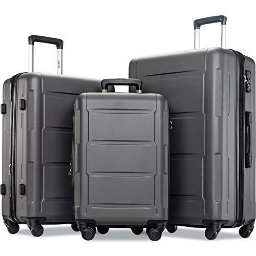 Merax Luggage Set with TSA Lock, All Expandable 3 Piece Hardshell Lightweight Suitcase Set 20inch 24inch 28inch (Black)