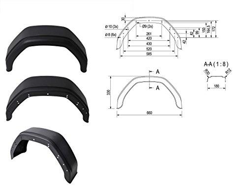 Garde Boue PLASTIQUE pour remorque - 10 Pouces - Demi Rond - 660x330mm