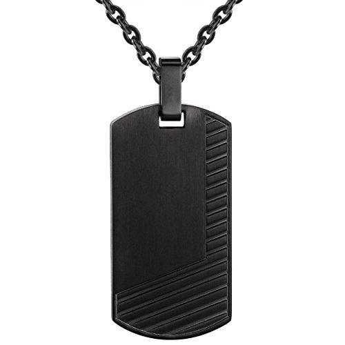 True Rebels Herren-Ankerkette Edelstahl schwarz 50 cm - Halskette Dogtag Edelstahlhalskette mit Anhänger Männerschmuck Kette, schwarz