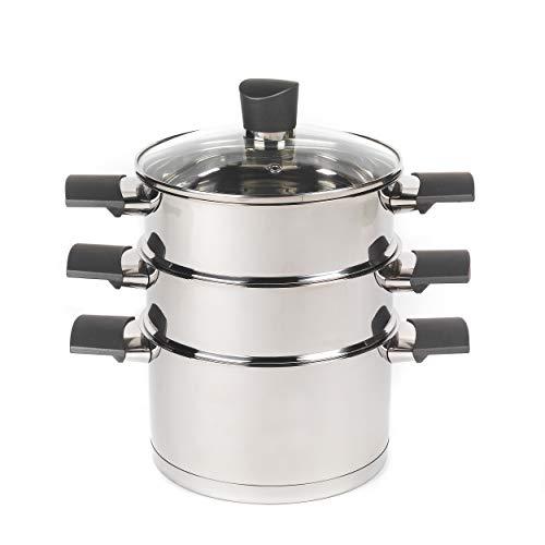 Russell Hobbs RH01170EU Excellence Collection Dampfgarer mit Deckel aus gehärtetem Glas | 18cm | Induktionsgeeignet, Rostfreier Stahl
