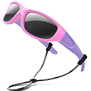 RIVBOS kids Sunglasses Girls with Strap Polarized UV Protection Flexible Shades for Baby and Children Age 2-10 RBK037-Pink,Black Polarized Lens